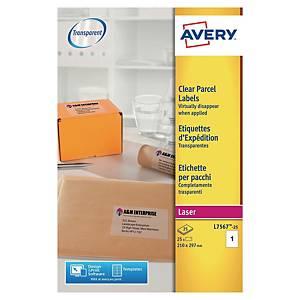 Etiketter Avery, transparenta, 210 x 297 mm, förp. med 25st.