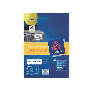 Avery L7969 Heavy Duty Label White 99.1X139mm - Box of 100