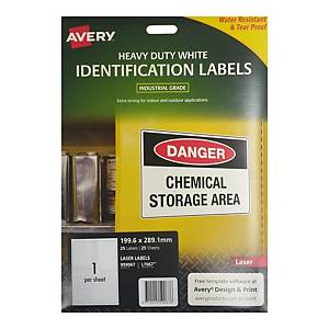 Avery L7067 Heavy Duty White Label 199.6 x 289.1mm - Pack of 25