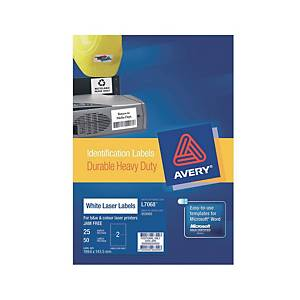 Avery L7063 Heavy Duty White Label 99.1x38.1mm - Box of 350