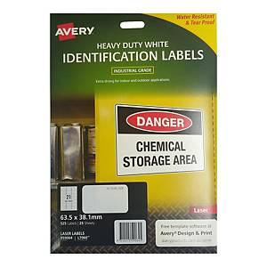 Avery L7060 Heavy Duty White Label 63.5 x 38.1mm - Pack of 525
