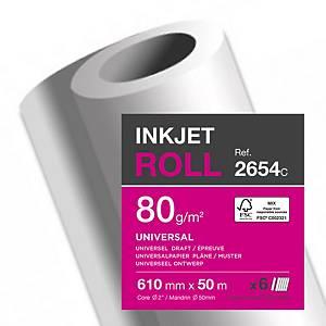 Plotrový papír v rolích 610 mm x 50 m, 80 g