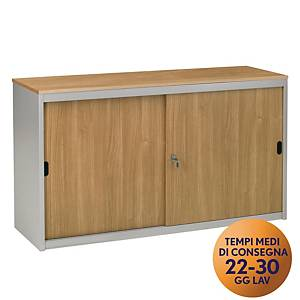 Armadio basso MecoOffice wood ante scorrevoli in melaminico noce/argento