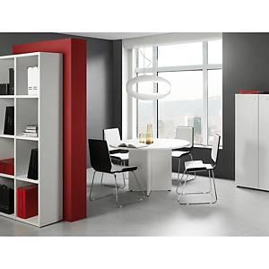 Mesa de reuniões redonda com pé de madeira branco/branco 120 cm