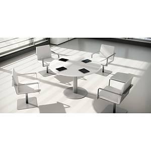 Mesa de reuniões redonda com pé de metal branco/branco 120 cm