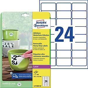 Wetterfeste Etiketten Avery Zweckform L4773REV-20, 63,5x33,9mm (LxB)weiß 480 St.