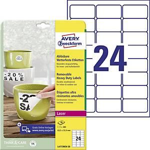 Odnímateľné veľmi odolné polyesterové etikety Avery Zweckform, 24 etikiet/hárok