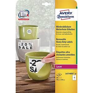 Avery L4774REV-20 levehető ellenálló poliészter etikettek 99,1 x 139 mm