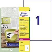 Avery eltávolítható ellenálló címke, poliészter, fehér, 1 darab/ív