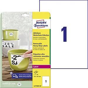 Avery L4775REV-20 levehető ellenálló poliészter etikettek 210 x 297 mm