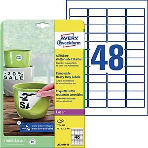 Wetterfeste Etiketten Avery Zweckform L4778REV-20, 45,7x21,2mm (LxB)weiß 960 St.