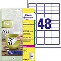 Avery eltávolítható ellenálló címke, poliészter, fehér, 48 darab/ív