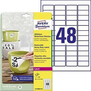 Odnímateľné veľmi odolné polyesterové etikety Avery Zweckform, 48 etikiet/hárok