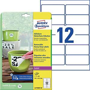 Wetterfeste Etiketten Avery Zweckform L4776REV-20, 99,1x42,3mm (LxB)weiß 240 St.