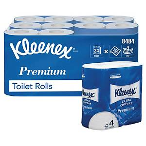Kleenex® Extra Comfort toiletpapier, 4-laags, 160 vellen per rol, per 24 rollen