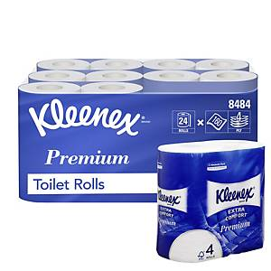 Kleenex Std Roll Toilet Tissue 8484 - 24 rolls x 160 white, 4 ply (3,840 sheets)