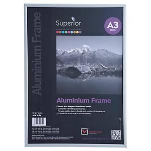 Cadre photo Stewart, A3, aluminium, argenté