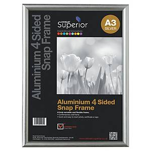 Bilderrahmen Stewart, A3, mit Schnappverschluss, Aluminium, silber
