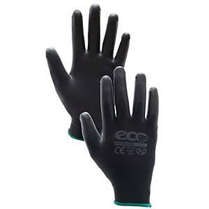 ถุงมือผ้าเคลือบ PU L สีดำ คู่