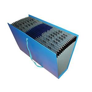 Lyreco Expanding Fan File Foolscap 16-Pocket Blue