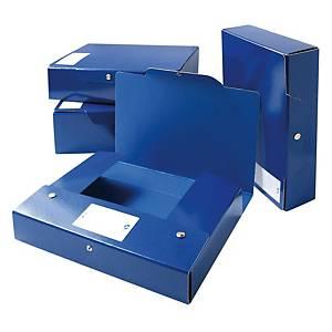 Cartella portaprogetto Arca cartone con bottone dorso 12 cm blu - conf. 5