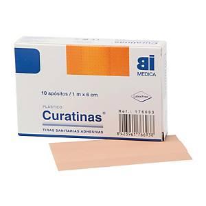 Caja de 10 Curatinas® Bimedica de plástico color piel - 60 mm x 1 m