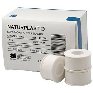 Caja de 18 rollos de esparadrapo de tela Bimedica color blanco - 25 mm x 5 m