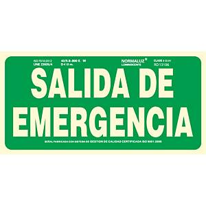 Placa  salida emergencia  - PVC fotoluminiscente - 150 x 300 mm
