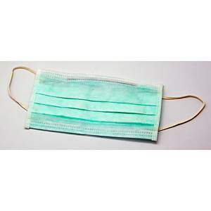 Caixa de 50 máscaras cirúrgicas descartáveis OHP - PP 3 dobras - verde