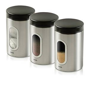 Addis Stainless Steel 900ml Canisters - Pack of 3