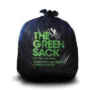 The Green Sack CHSA 15kg Heavy Duty Compactor Sack 864mmx1168mm Black - Roll 40