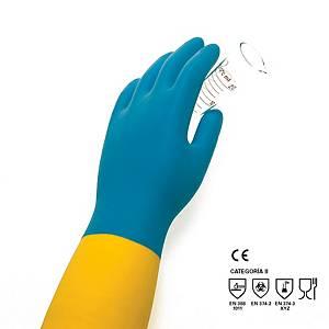 Par de luvas químicos Rubberex Tropicolor BIC 200 - látex - tamanho 8