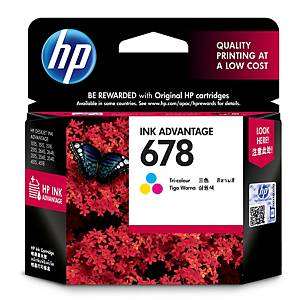 HP ตลับหมึกอิงค์เจ็ท HP678 CZ108AA 3 สี