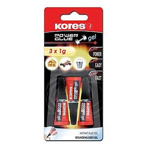 Vteřinové lepidlo Kores 26342 Power Glue Gel, balení 3 ks à 1 g