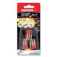 Sekundové lepidlo Kores Power Glue Gel, 1 g, 3 ks/balenie