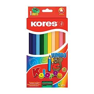 3-hranné pastelky Kores Jumbo, balenie 12 ks+strúhadlo