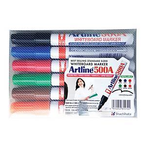 Artline 500A Whiteboard Marker Pen Bullet Tip - Wallet of 6