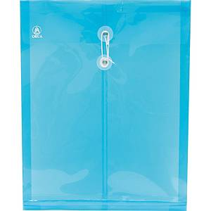 ORCA Expanding Plastic Envelope with String A4 Blue - Pack of 12