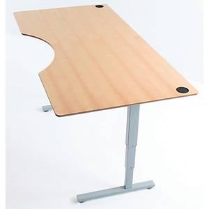 Hæve-sænke-bord, med bue, 3-leddet ben, 200 x 100 cm, bøg
