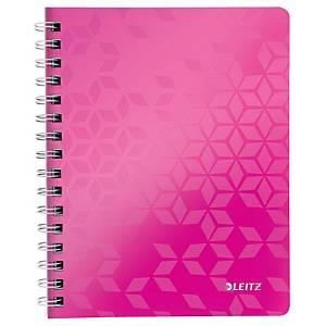 Špirálový zápisník Leitz WOW, A5, linajkový, 80 listov, ružový
