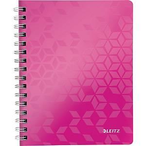 Notizbuch Leitz 4641 WOW, spiralgebunden, A5, kariert, pink metallic, 80 Blatt