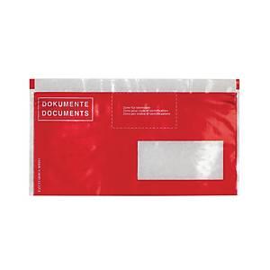 Pochettes pour documents d'expédition, C5/6, fenêtre à droite, rouge