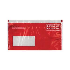 Pochettesporte-documents, C5/6, fenêtre à gauche, rouge, emb. de 250pcs