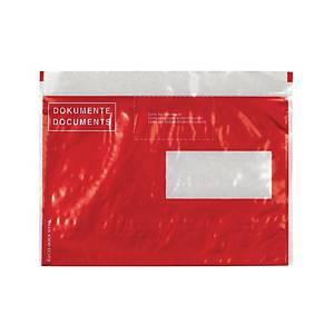 Pochettes porte-documents, C5, fenêtre à droite, rouge, emb. de 250pcs