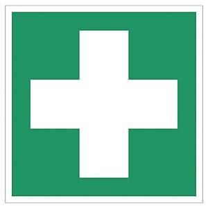 Rettungszeichen Gloria Erste Hilfe, Folie, 20 x 20cm, grün/weiß