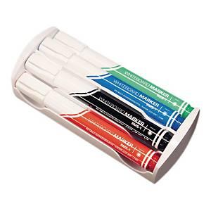Marker suchościeralny RYSTOR RMS-1, zestaw 4 kolorów z gąbką