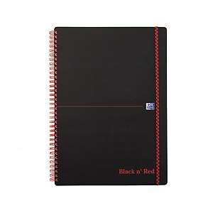 Notesbog Oxford Black n  Red, A4, linjeret, spiral