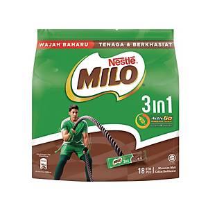 Milo Fuze 3 in 1 Sticks Nestle 33g - Pack of 18