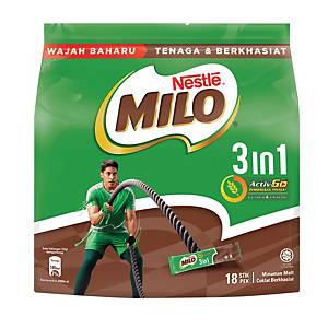 Milo Fuze 3 in 1 Sticks Nestle 33g - Pack of 18