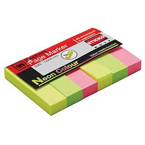 ELEPHANT 112110 PAGE MARKER 12MM X 50MM 3 NEON COLOURS 480 FLAGS